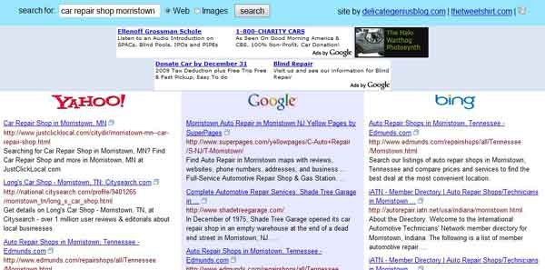 Blind search results for a query in Google, Yahoo and Bing.