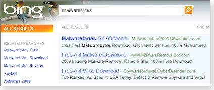Malware ads on Bing