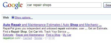 Google treats the words car and auto as synonyms.