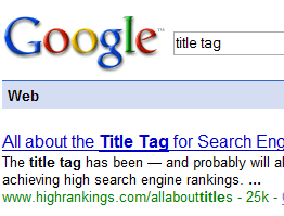 The Title Tag is an important place for your keywords for Seo
